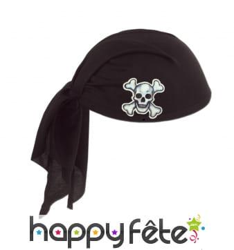 Bandana de pirate noir tête de mort