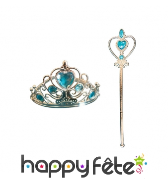 Baton de petite princesse bleu avec couronne