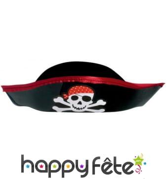 Bicorne de pirate avec tête de mort pour enfant