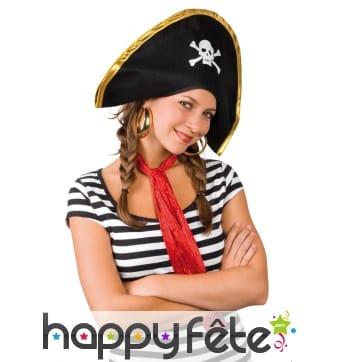 Bicorne de pirate noir motif tête de mort