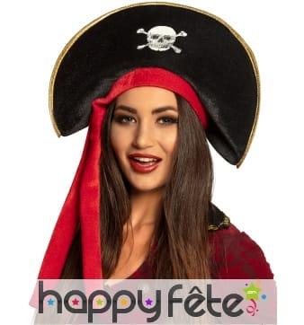 Bicorne de pirate pour adulte rouge et noir