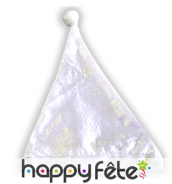 Bonnet de pere noel blanc irisé