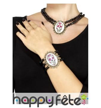 Bracelet de perles avec médaillon jour des morts