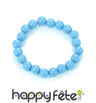 Bracelet de perles bleues en plastique