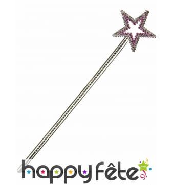 Baguette étoile de fée rose, 34 cm
