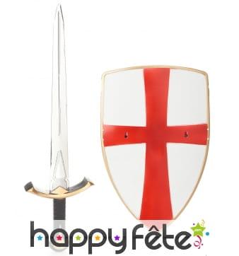 Bouclier et épée de croisé, en plastique