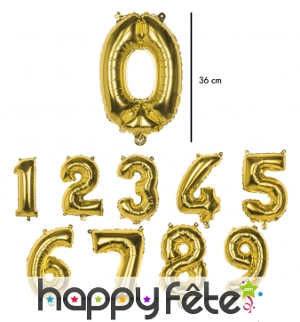 Ballon en forme de chiffre doré de 36 cm