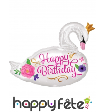 Ballon en forme de Cygne happy birthday,55 x 73 cm