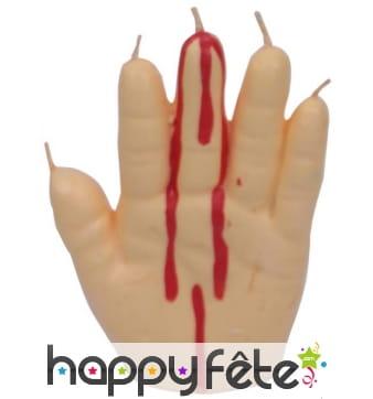 Bougie en forme de main qui saigne