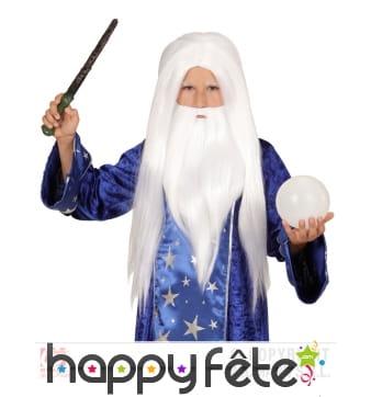 Barbe et perruque blanche de magicien pour enfant