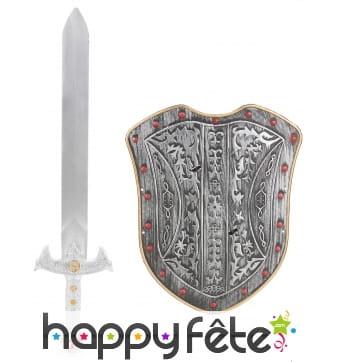 Bouclier en plastique avec épée pour enfant
