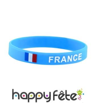 Bracelet France avec drapeau, silicone bleu
