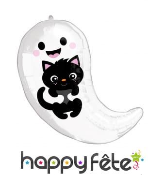 Ballon fantôme qui tient un petit chat, 48cm