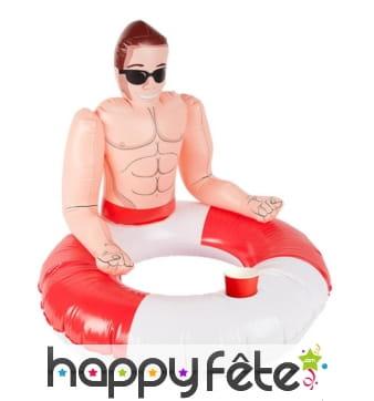 Bouée gonflable maître-nageur blanc et rouge