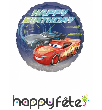 Ballon Happy Birthday Cars rond de 43cm