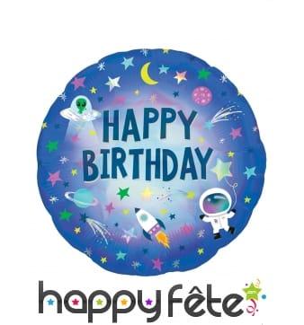 Ballon Happy Birthday dans l'espace,cm