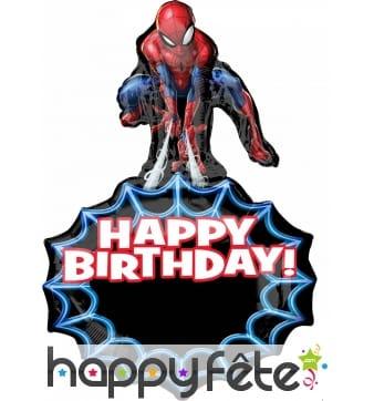 Ballon Happy Birthday de Spider-Man 86cm