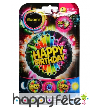 Ballon Happy Birthday LED lumineux de 50cm
