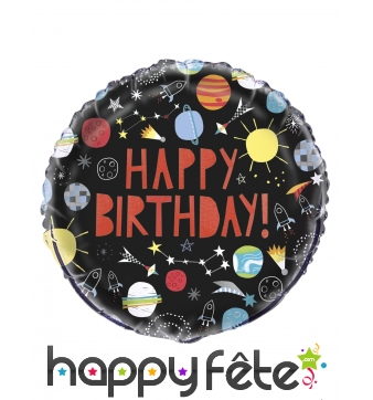 Ballon happy birthday noir galaxie de 45 cm