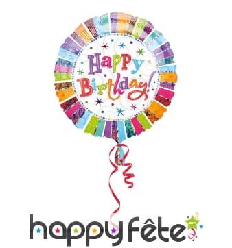 Ballon Happy Birthday rond coloré