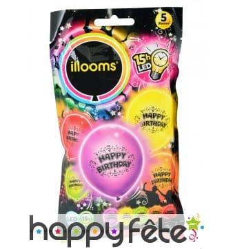 Ballons Happy Birthday lumineux