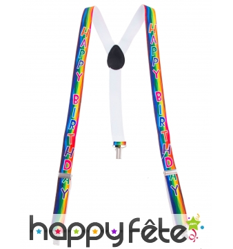Bretelles Happy Birthday multicolores pour adulte