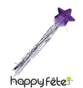 Baguette holographique violette avec étoile