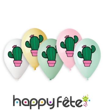 Ballons imprimé cactus, par 5