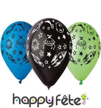 Ballons imprimés de motifs univers et cosmos