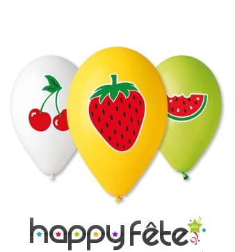 Ballons impression fruit, par 5