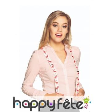 Bretelles imprimé flamant rose pour adulte