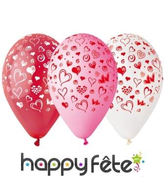 Ballons imprimés motifs coeur