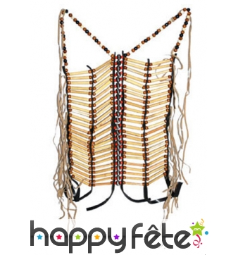 Bustier indien naturel perles et tubes de bois