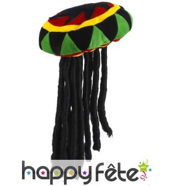 Bonnet Jamaïque avec dreadlocks pour adulte
