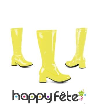 Bottes jaunes brillantes pour enfant