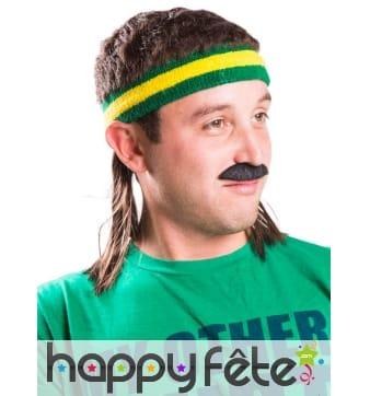 Bandeau jaune et vert avec cheveux coupe mulet