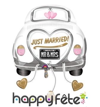 Ballon just married en forme de voiture