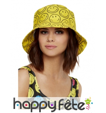 Bob jaune motifs Smiley