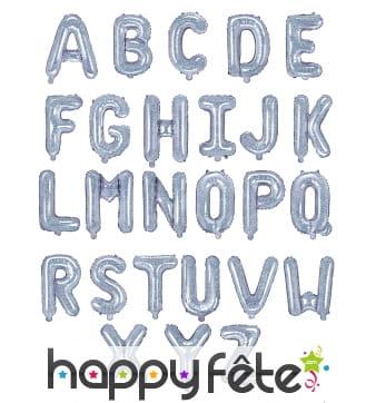 Ballon lettre argenté iridescent de 35 cm