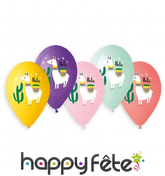 Ballons lama colorés, par 5