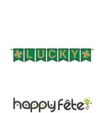 Banderole Lucky de 180 cm, verte et dorée