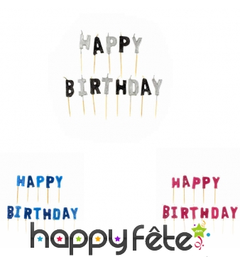 Bougie lettres Happy Birthday sur pic