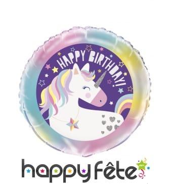 Ballon licorne multicolore happy birthday, 45 cm