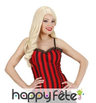 Bustier ligné rouge et noir style cabaret
