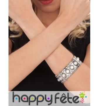 Bracelet médiévale argenté avec pierres blanches