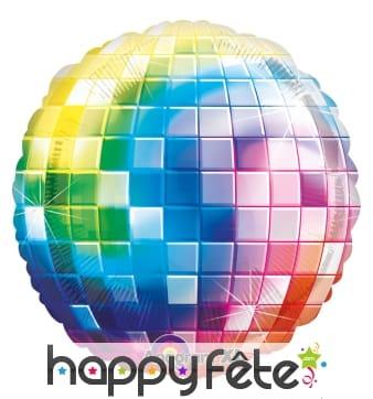Ballon multicolore boule à facettes