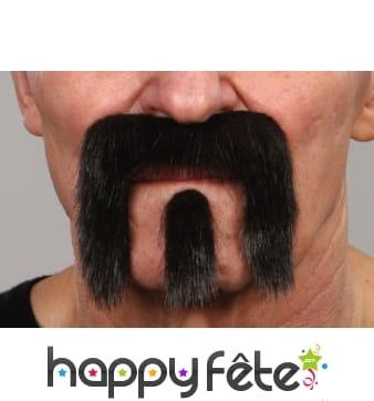Bouc moustache de motard. Noire