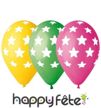 Ballons motifs étoilés multicolores