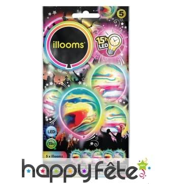 Ballons marbrés lumineux multicolores