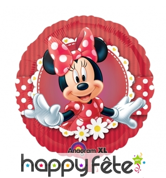 Ballon Minnie Mouse rond en aluminium